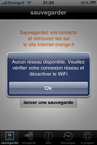 Orange : application de sauvegarde de contacts failed