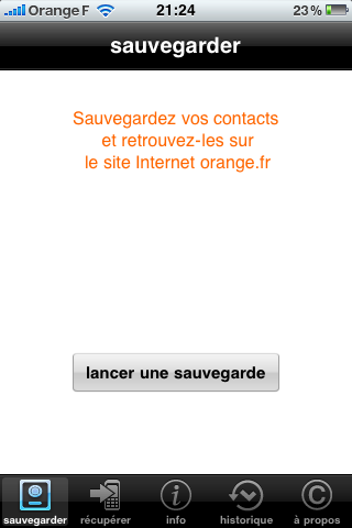 Orange : application de sauvegarde de contacts