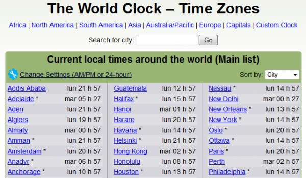 World Date and Time