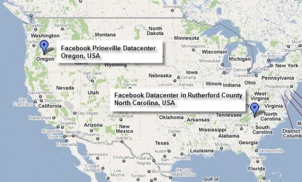 Carte des nouveaux datacenters de Facebook