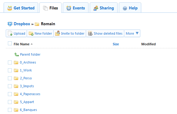Dropbox : accès aux fichiers en ligne