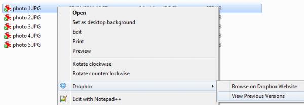 Dropbox : accès aux versions précédentes d'un fichier