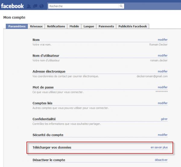 Télécharger votre vie depuis Facebook : début