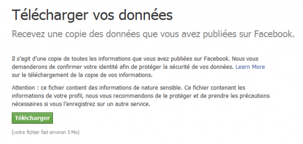 Télécharger votre vie depuis Facebook
