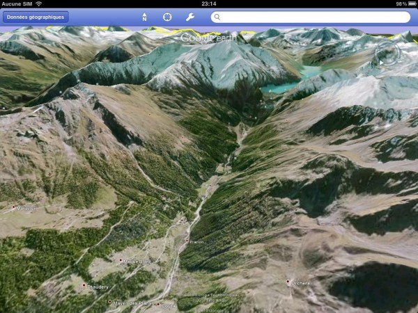 Google Earth sur un iPad : les montagnes en 3D