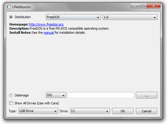 Créer une clé USB bootable FreeDOS avec UNetbootin