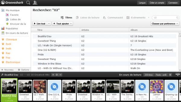 U2 sur Grooveshark