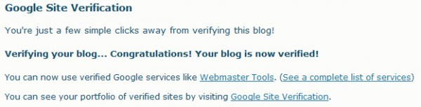Vérification validée pour le plugin WordPress Google Site Verification