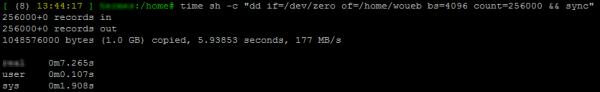 Test de performances en écriture d'un disque sur Linux