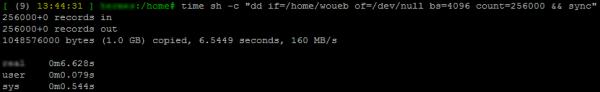 Test de performances en lecture d'un disque sur Linux