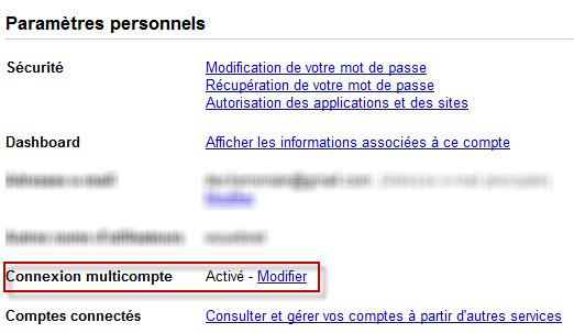 Compte Google : activation du multicompte