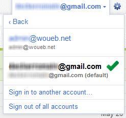 Compte Google : sélection du compte