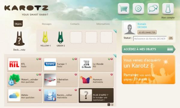 Karotz : extranet permettant le choix des applications