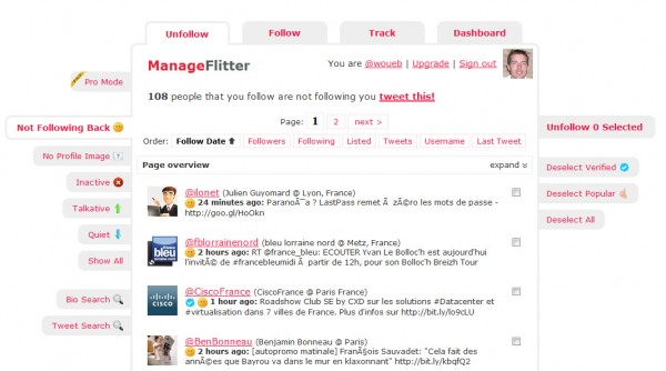 Gestion de vos contacts Twitter avec ManageFlitter