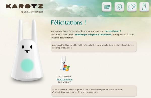 Karotz : assistant de configuration