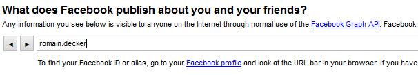 Renseignez votre identifiant pour voir ce que Facebook publie sur vous