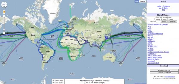 Carte mondiale des fibres optiques sous-marines