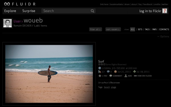 Afficher les photos d'un utilisateur de Flickr sur Fluidr