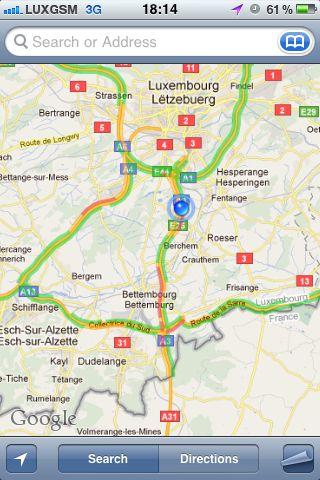Le trafic routier au Luxembourg sur Google Maps