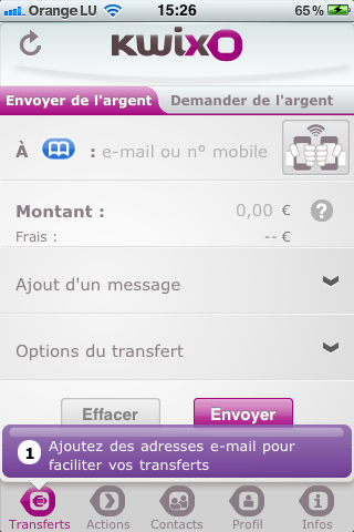 Application Kwixo sur iPhone