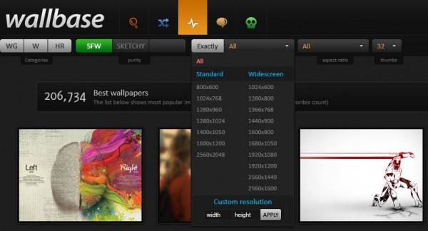 Paramètres de sélection des fonds d'écrans sur Wallbase