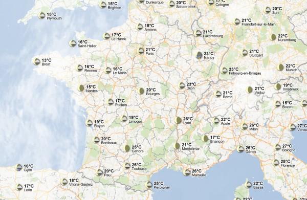 La météo de l'Europe sur Google Maps