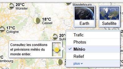 Afficher la météo sur Google Maps