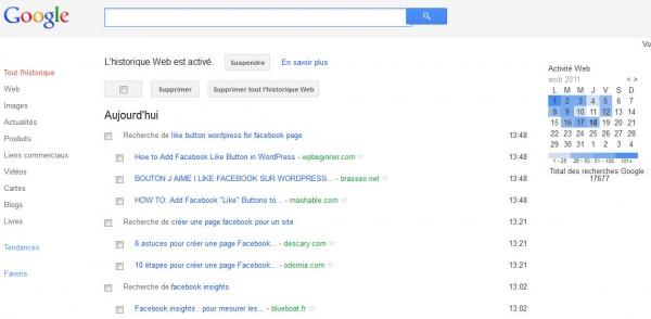 Mon historique web sur Google