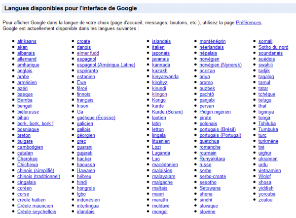 Liste des langues possibles pour l'interface de Google