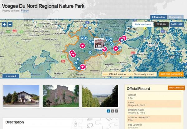 Le parc régional des Vosges du Nord sur Protectedplanet.net