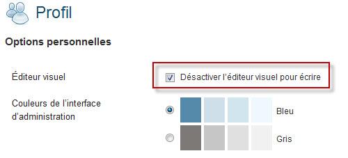 Désactivation de l'éditeur visuel sur WordPress