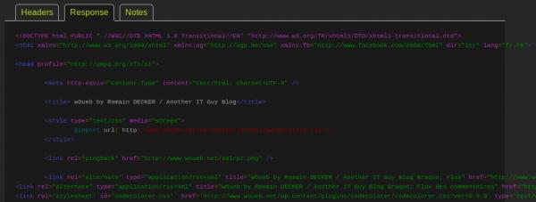 Affichage de la réponse du serveur lors d'un test simple avec Blitz.io