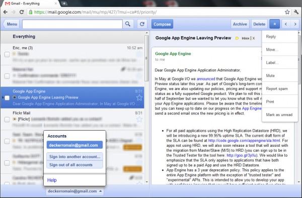 L'interface Offline Google Mail qui rappelle celle présente sur iOS
