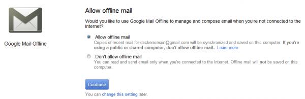 Offline Google Mail : sélection du mode Online ou Offline