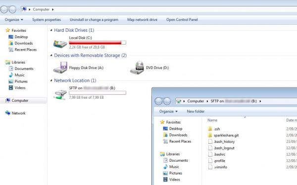 Un répertoire d'un serveur SFTP monté