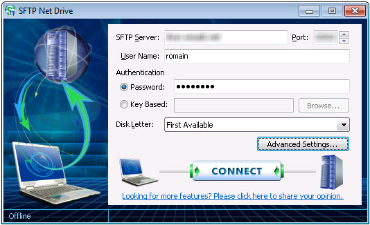 Paramêtres de connexion de SFTP Net Drive