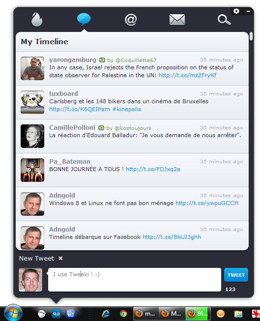 Tweeki, client Twitter pour Windows 7