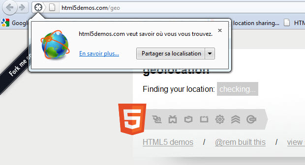 Partager sa localisation sur Firefox (HTML5)