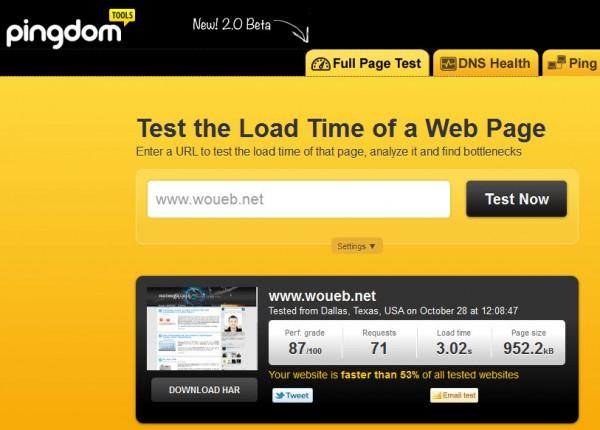 Résultat d'un test : analyse de mon blog avec la nouvelle version de Pingdom Full Page Test