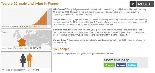 Récapitulatif de ma situation par rapport à la population mondiale