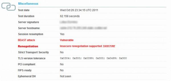 Serveur ayant échoué au test et vulnérable à l'attaque DDos SSL