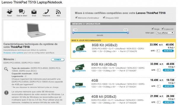 Choix de RAM compatible pour un PC portable Lenovo Thinkpad