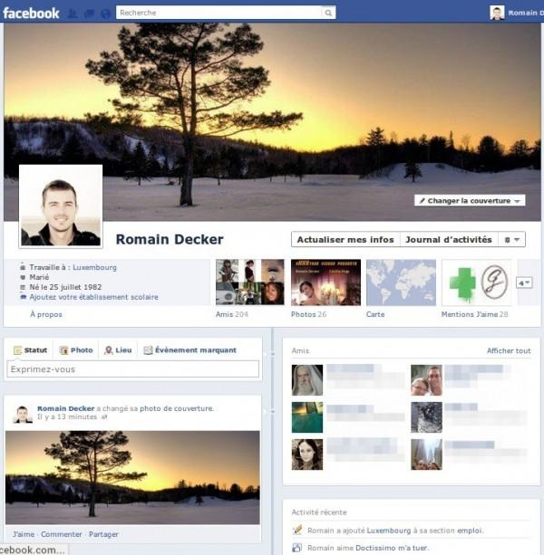 Le profil Timeline appliqué à mon compte Facebook
