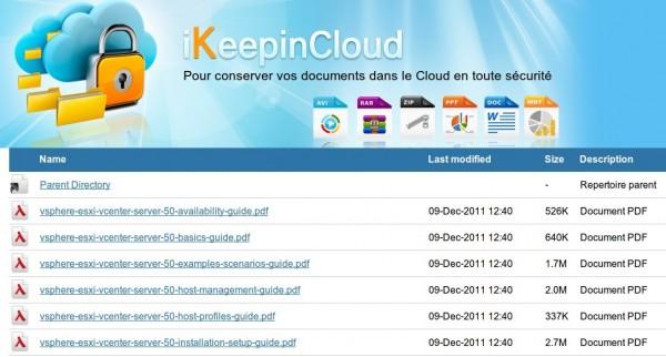 Répertoire public de votre stockage en ligne iKeepinCloud