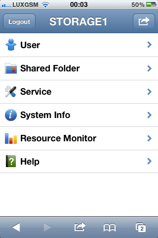Synology DSM Mobile : accueil