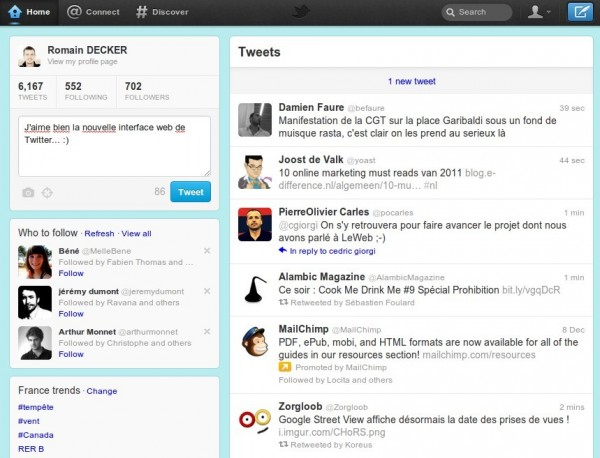 Nouvelle interface web de Twitter
