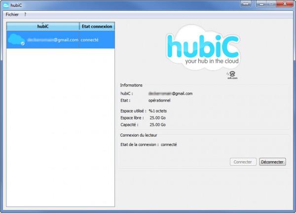 Fenêtre principale d'hubiC, la sauvegarde par OVH