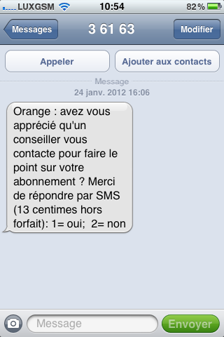 Sondage payant par Orange