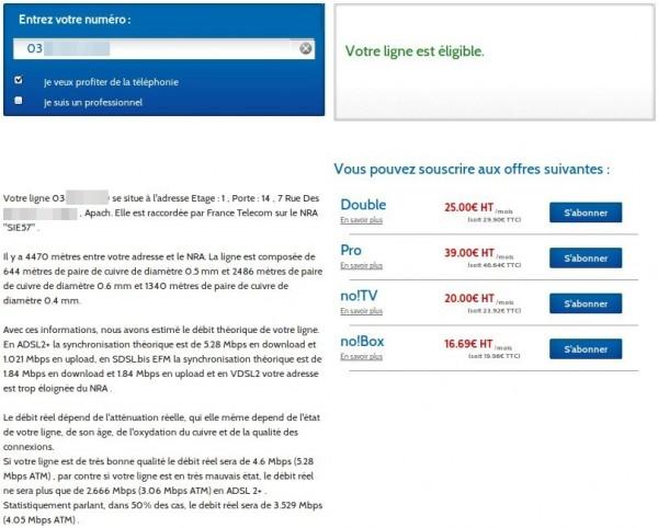 Test d'éligibilité ADSL chez OVH