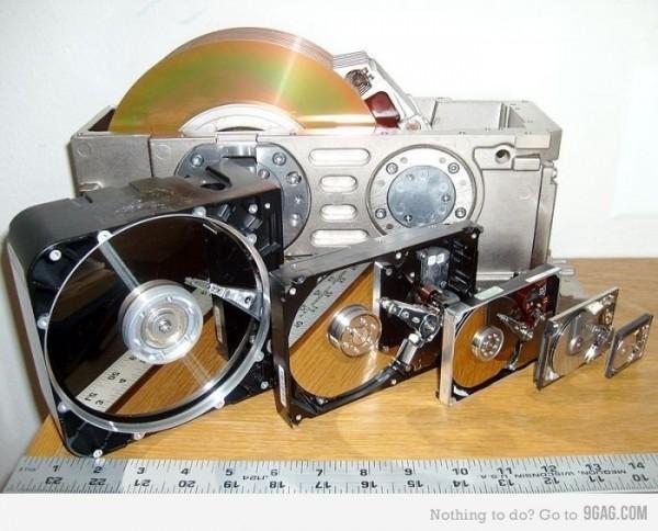 Evolution de la taille des disques durs entre 1979 et 2011